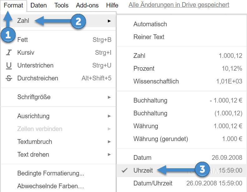 Google Tabellen Zelle mit Uhrzeit formatieren