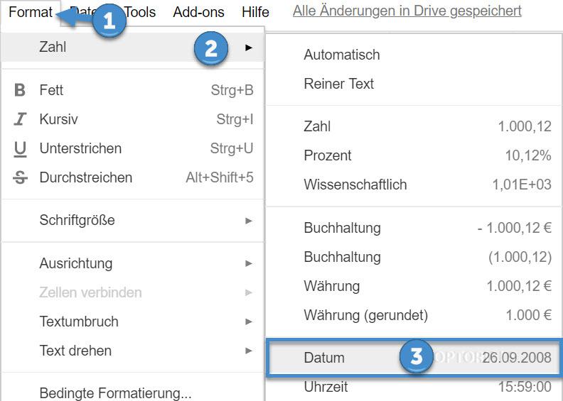 Google Zelle mit Datum formatieren