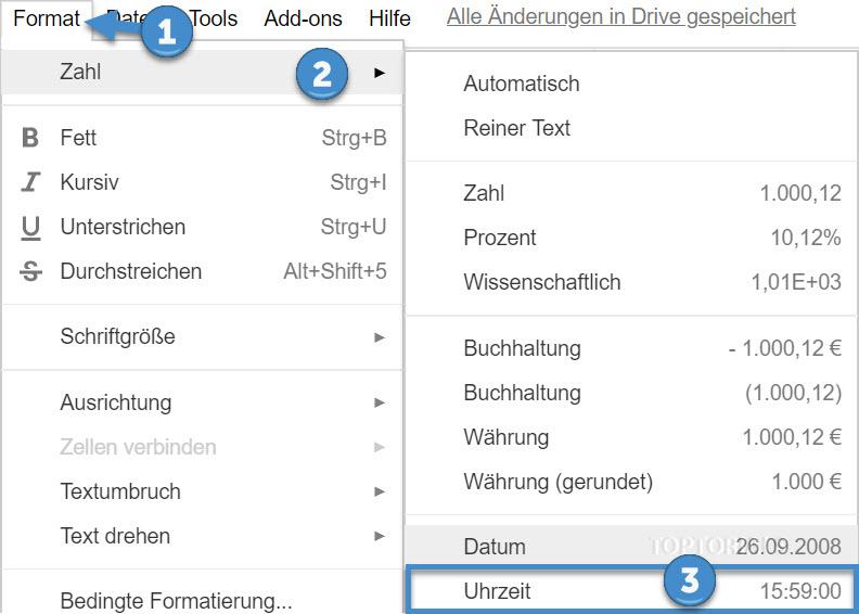 Google Zelle mit Uhrzeit formatieren