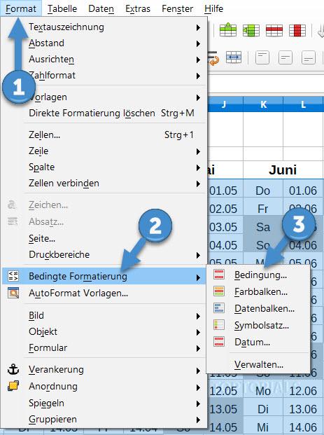 LibreOffice Calc Bedingte Formatierung auswählen