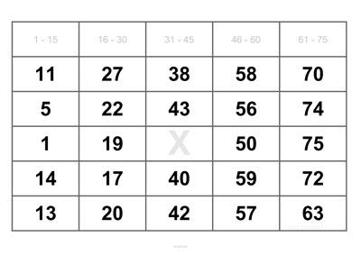 1 Bingoschein auf DIN A4 Blatt