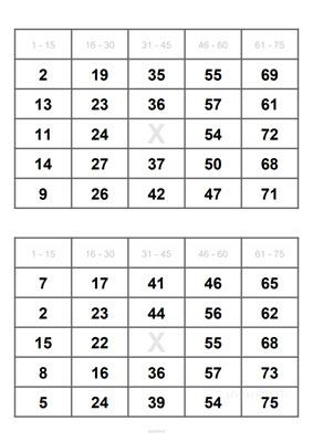 2 Bingoscheine auf DIN A4 Blatt