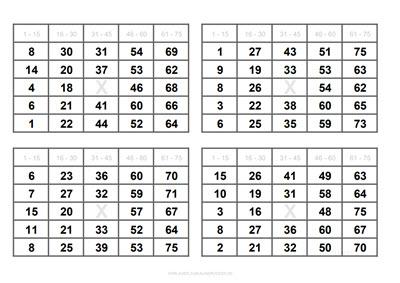 Bingo Scheine zum Ausdrucken