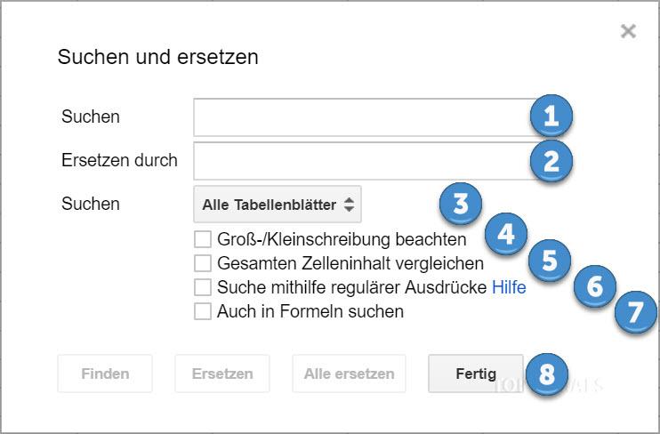 Suchen und Ersetzen Dialog Google Tabellen