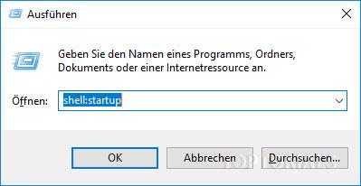 Ausführen Dialog Windows 10 mit Inhalt