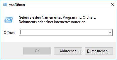 Ausführen Dialog von Windows 10