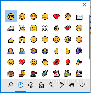 Emoji Panel in Windows 10