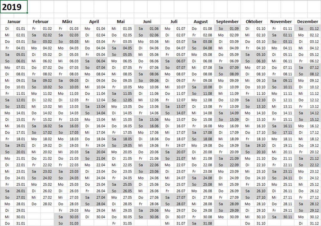 Excel Kalender 2019