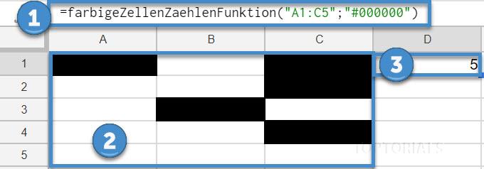 Google Tabellen Funktion farbige Zellen zaehlen