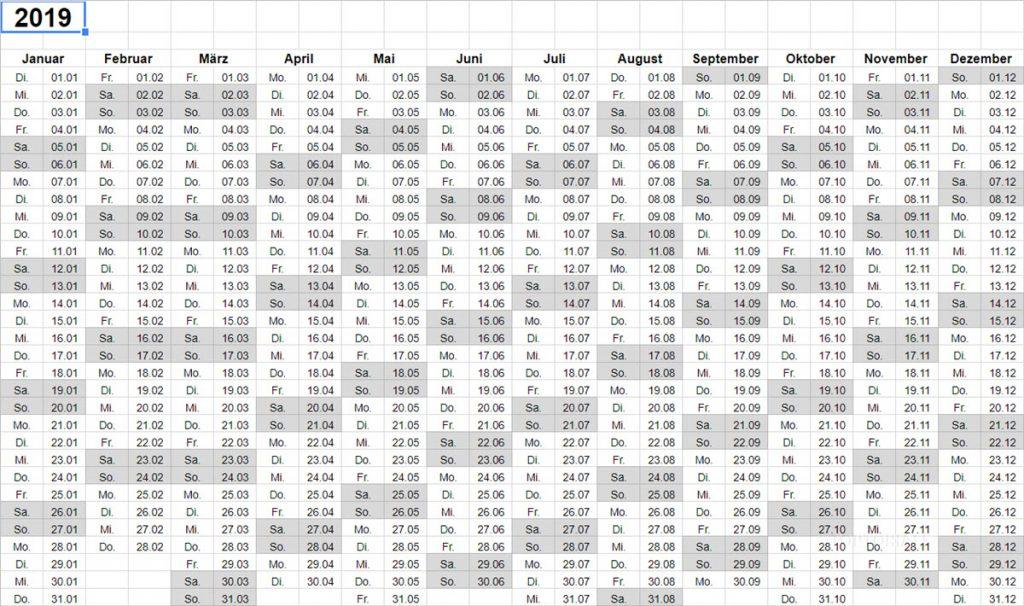 Google Tabellen Kalender 2019