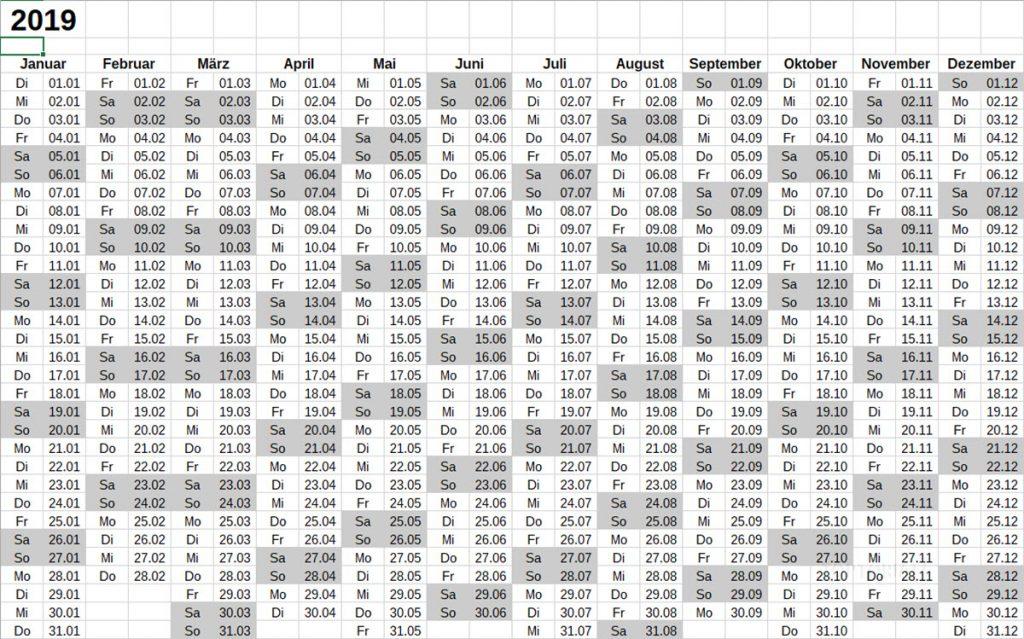 LibreOffice Calc Kalender 2019