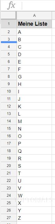 Liste von A-Z für Dropdownauswahl
