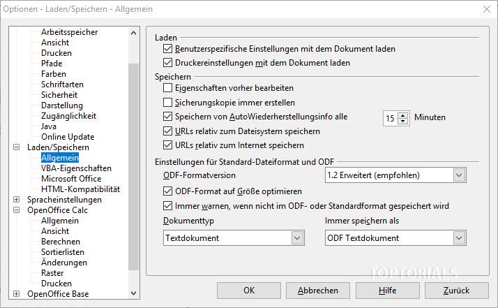 OpenOffice Laden und Speichern