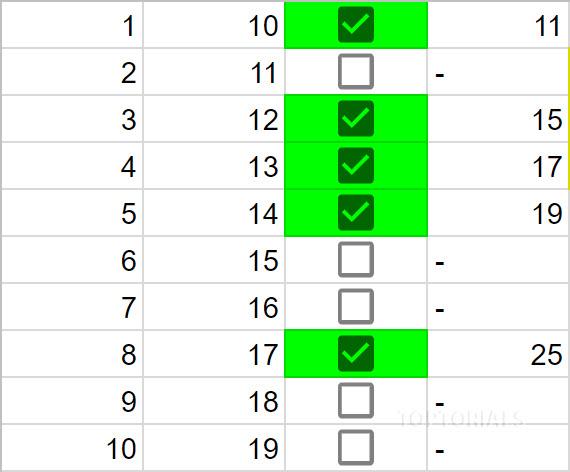 Google Tabellen Kästchen Berechnung