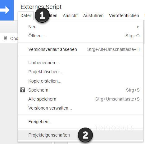 Google Projekteigenschaften