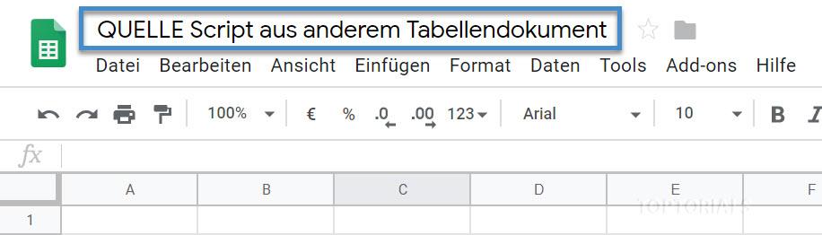 Quelle Script von anderen Tabellendokument
