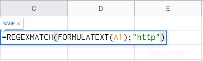 Google Tabellen REGEXMATCH FORMULATEXT