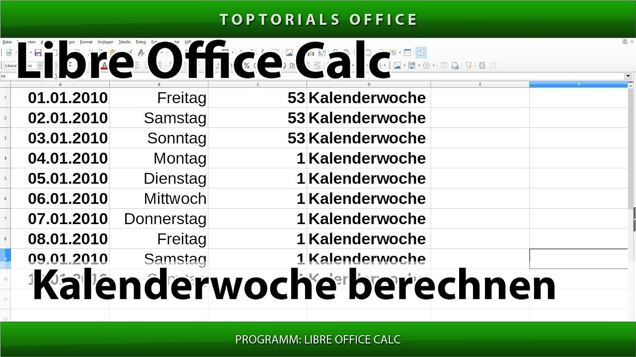 kalenderwoche von einem datum berechnen in libreoffice. Black Bedroom Furniture Sets. Home Design Ideas