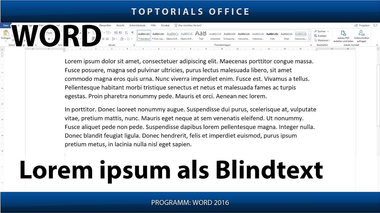 lorem ipsum blindtext in word toptorials. Black Bedroom Furniture Sets. Home Design Ideas